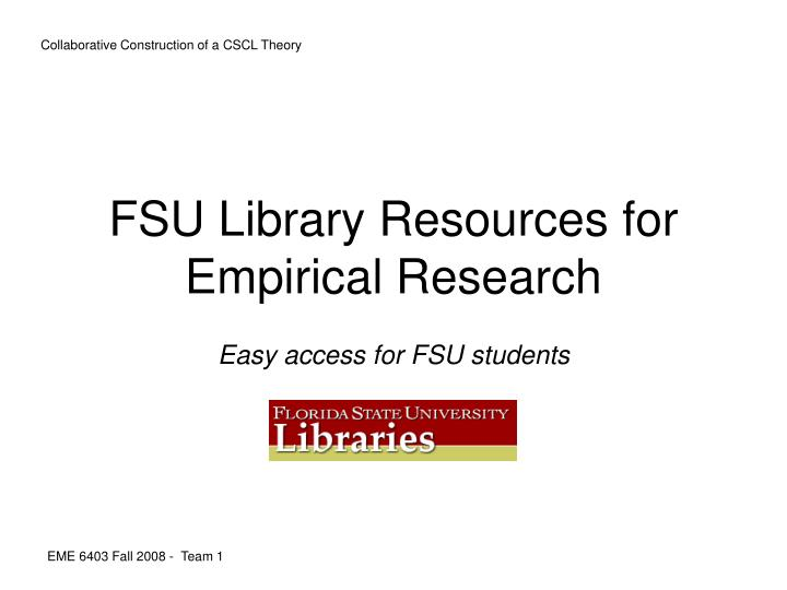 fsu library resources for empirical research