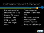 outcomes tracked reported