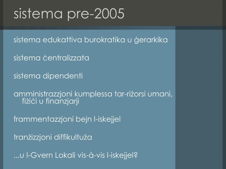 Sistema pre 2005