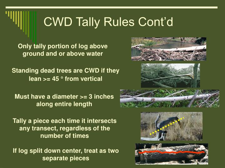 CWD Tally Rules Cont'd
