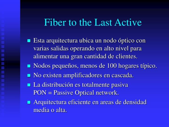 Fiber to the Last Active