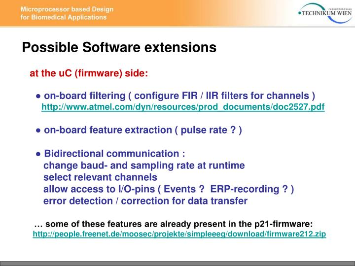 Possible Software extensions