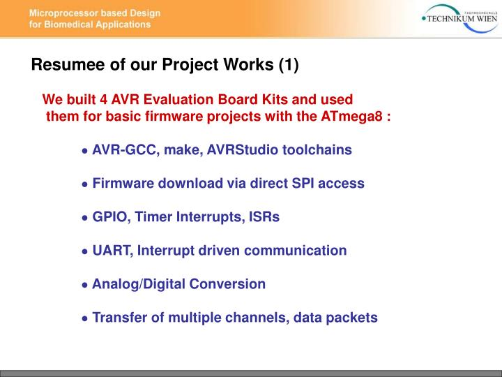 Resumee of our Project Works (1)
