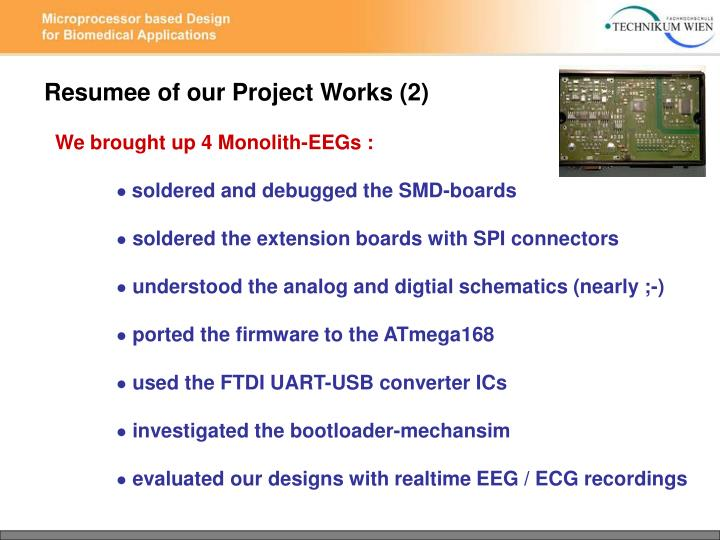 Resumee of our Project Works (2)