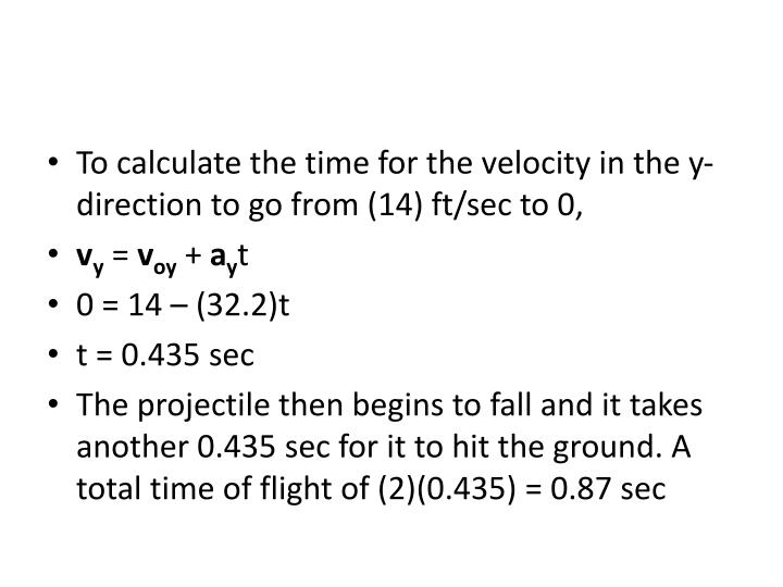 To calculate the time for the velocity in the y-direction to go from (14)