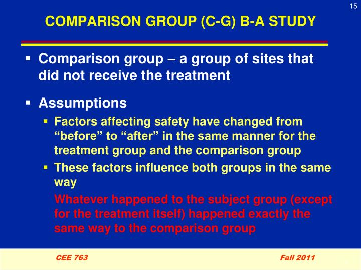 COMPARISON GROUP (C-G) B-A STUDY