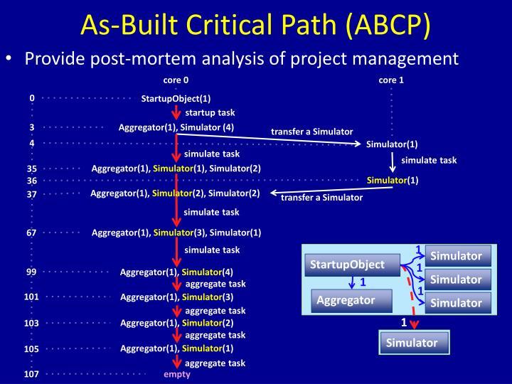 As-Built Critical Path (ABCP)