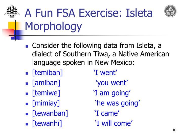 A Fun FSA Exercise: Isleta Morphology