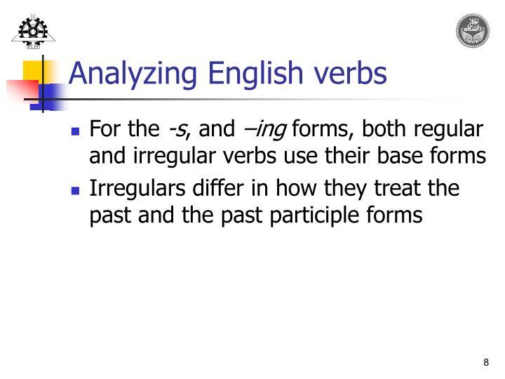 Analyzing English verbs