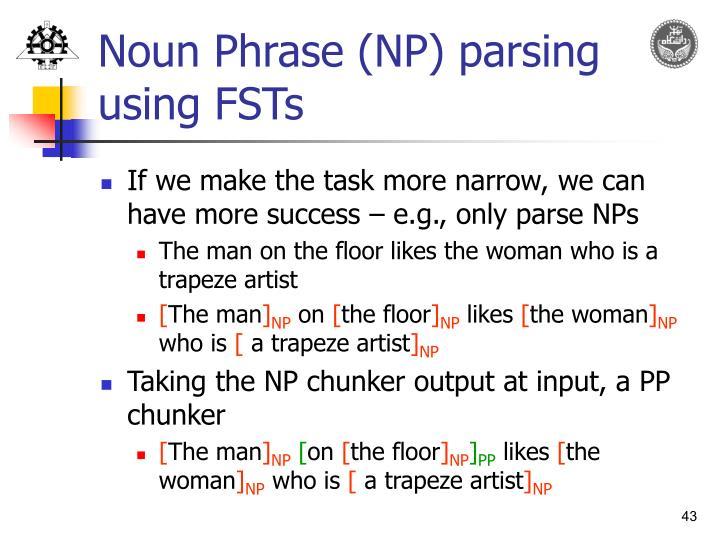 Noun Phrase (NP) parsing using FSTs