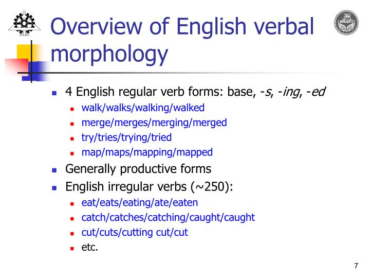 Overview of English verbal morphology
