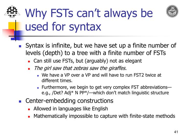 Why FSTs can't always be used for syntax