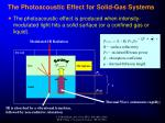 the photoacoustic effect for solid gas systems