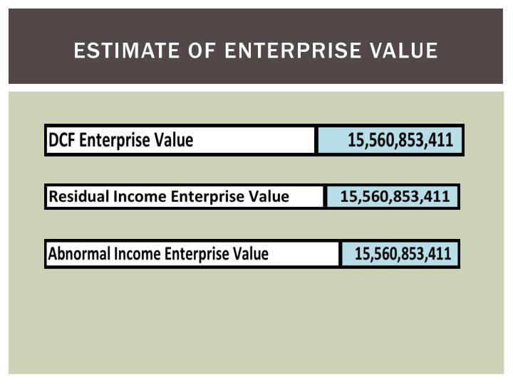 Estimate of enterprise value