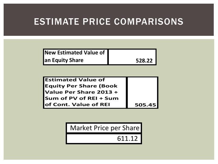 Estimate price comparisons