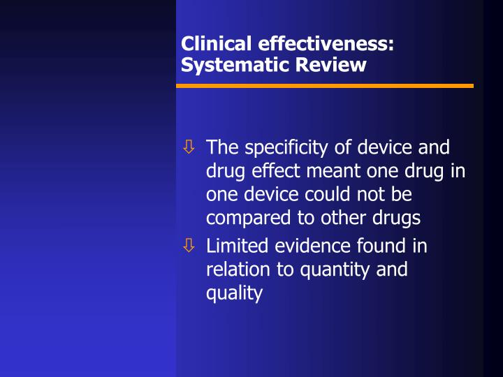 Clinical effectiveness: Systematic Review