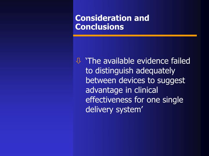 Consideration and Conclusions