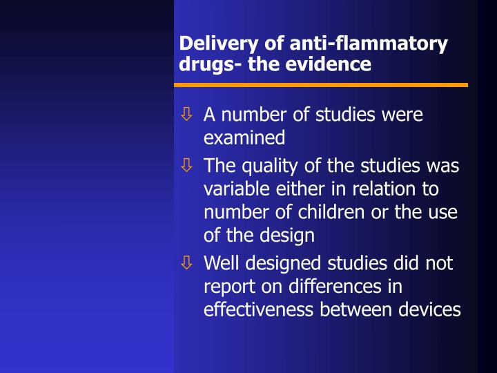 Delivery of anti-flammatory drugs- the evidence