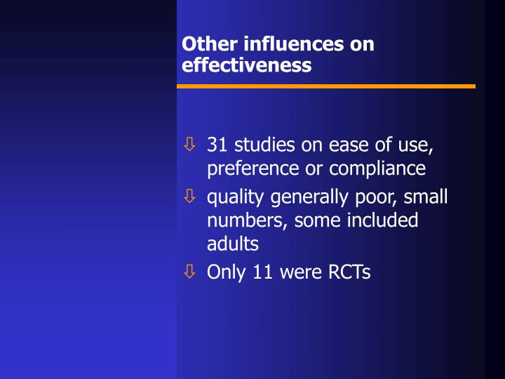 Other influences on effectiveness