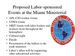 proposed labor sponsored events at the miami ministerial