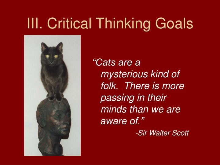 III. Critical Thinking Goals