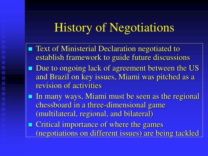History of Negotiations