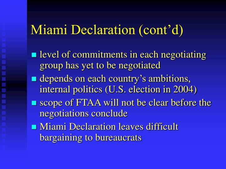 Miami Declaration (cont'd)