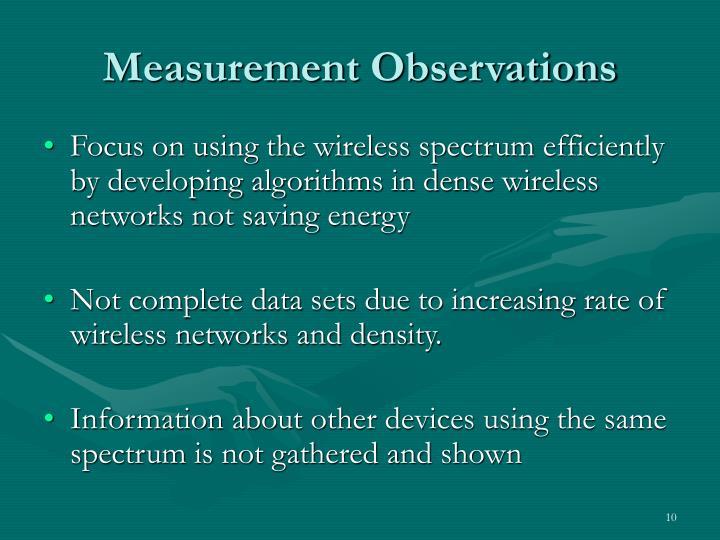 Measurement Observations