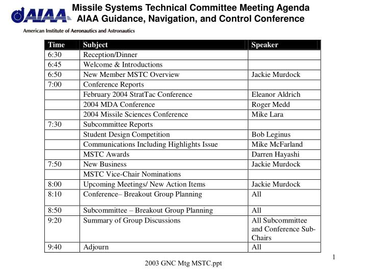 missile systems technical committee meeting agenda aiaa guidance navigation and control conference n.