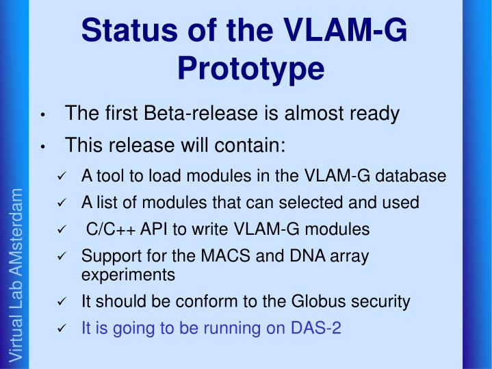 Status of the VLAM-G Prototype
