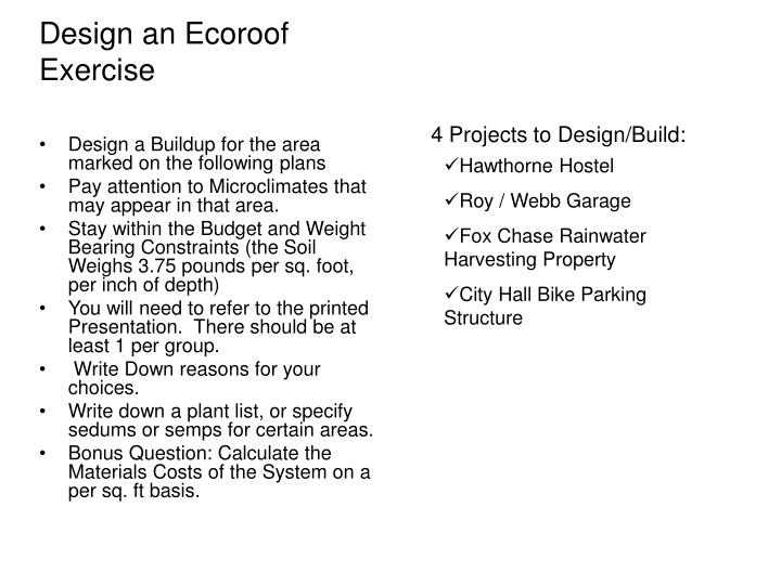 design an ecoroof exercise