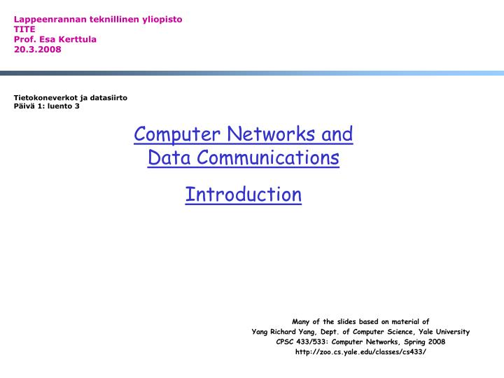 PPT - Computer Networks and Data Communications Introduction