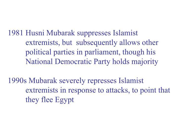 1981 Husni Mubarak suppresses Islamist