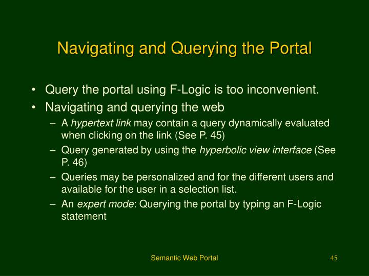 Navigating and Querying the Portal