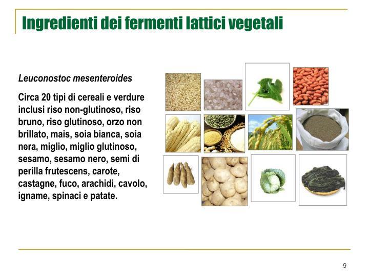 Ingredienti dei fermenti lattici vegetali