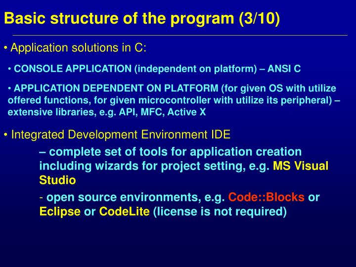 Basic structure of the program