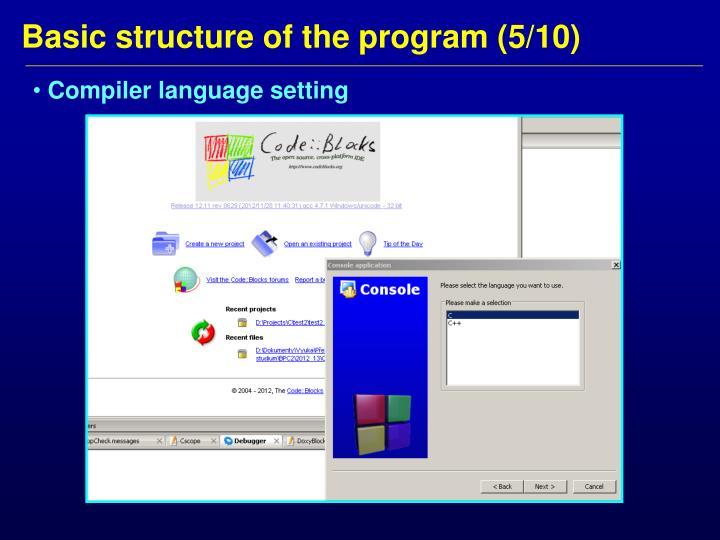 Compiler language setting