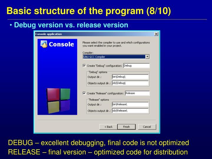 Debug version vs. release version