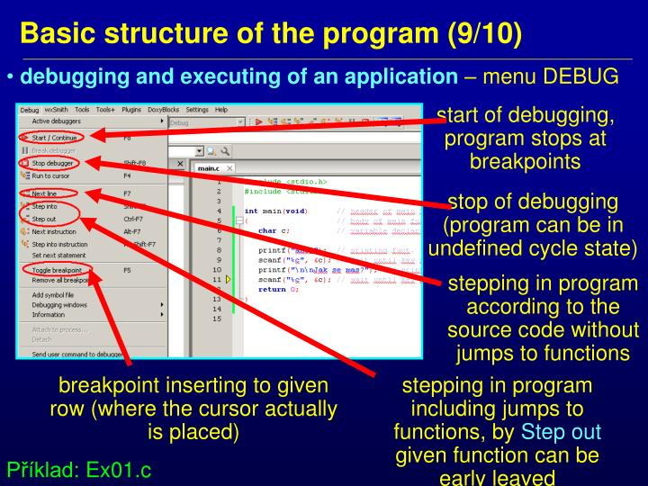 debugging and executing of an application