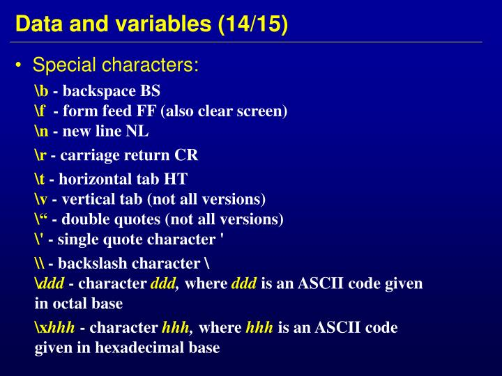 Data and variables