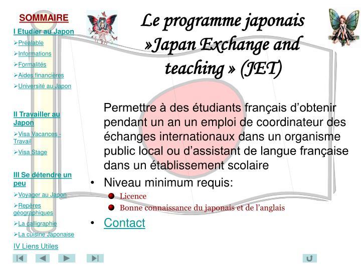 Le programme japonais »Japan Exchange and teaching » (JET)