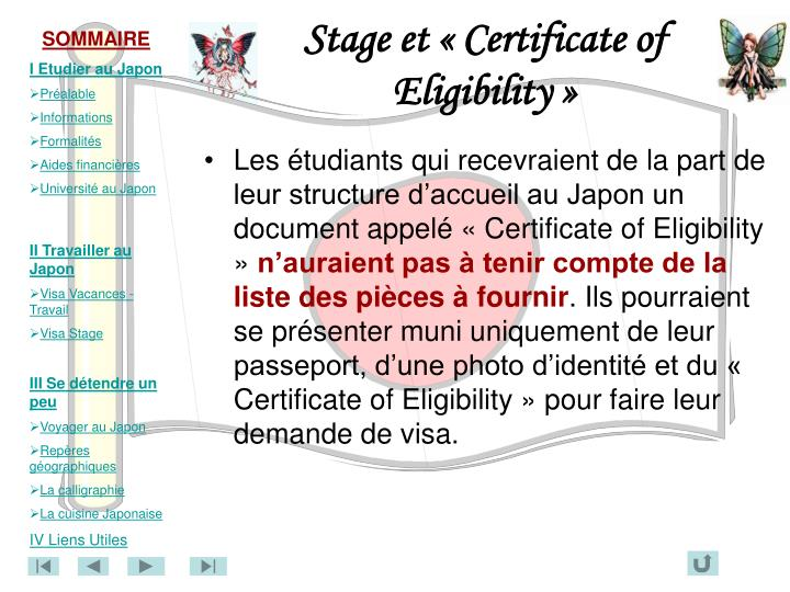 Stage et « Certificate of Eligibility »