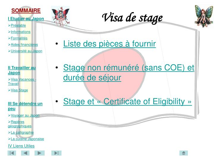Visa de stage