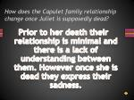 how does the capulet family relationship change once juliet is supposedly dead