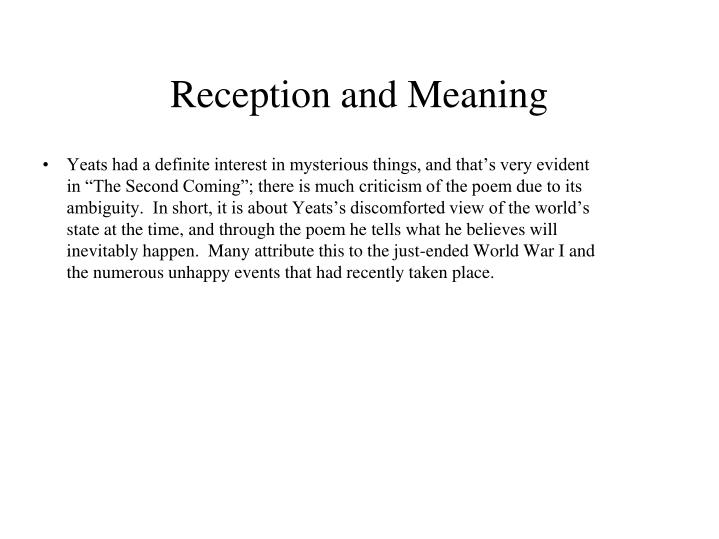 Reception and Meaning