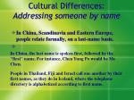 cultural differences addressing someone by name