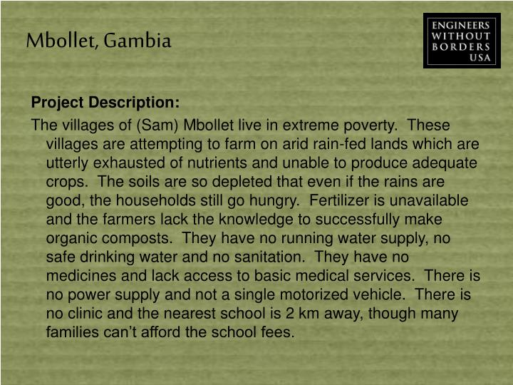 Mbollet, Gambia