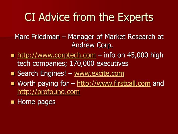 CI Advice from the Experts