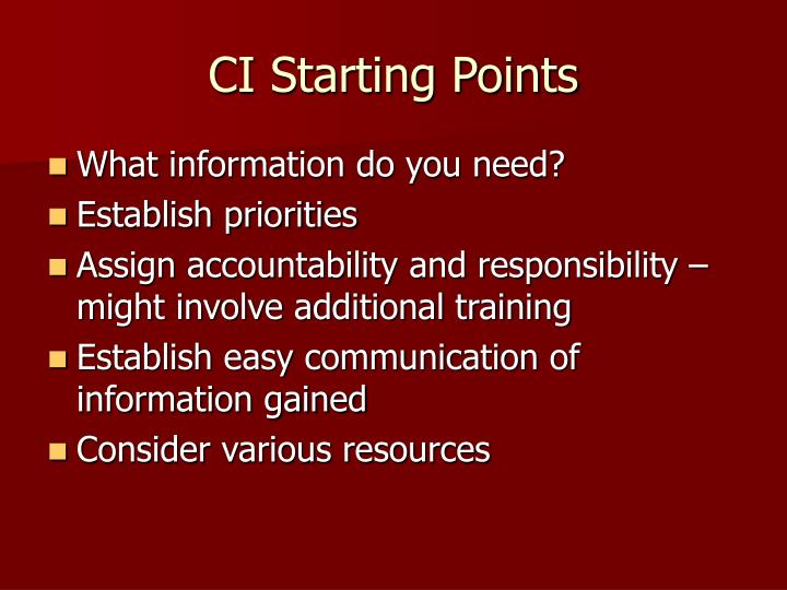 CI Starting Points
