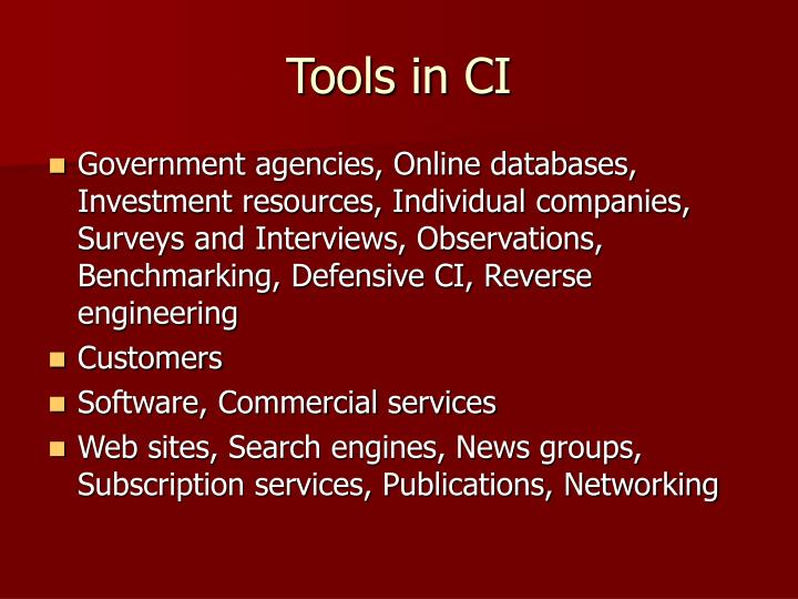 Tools in CI
